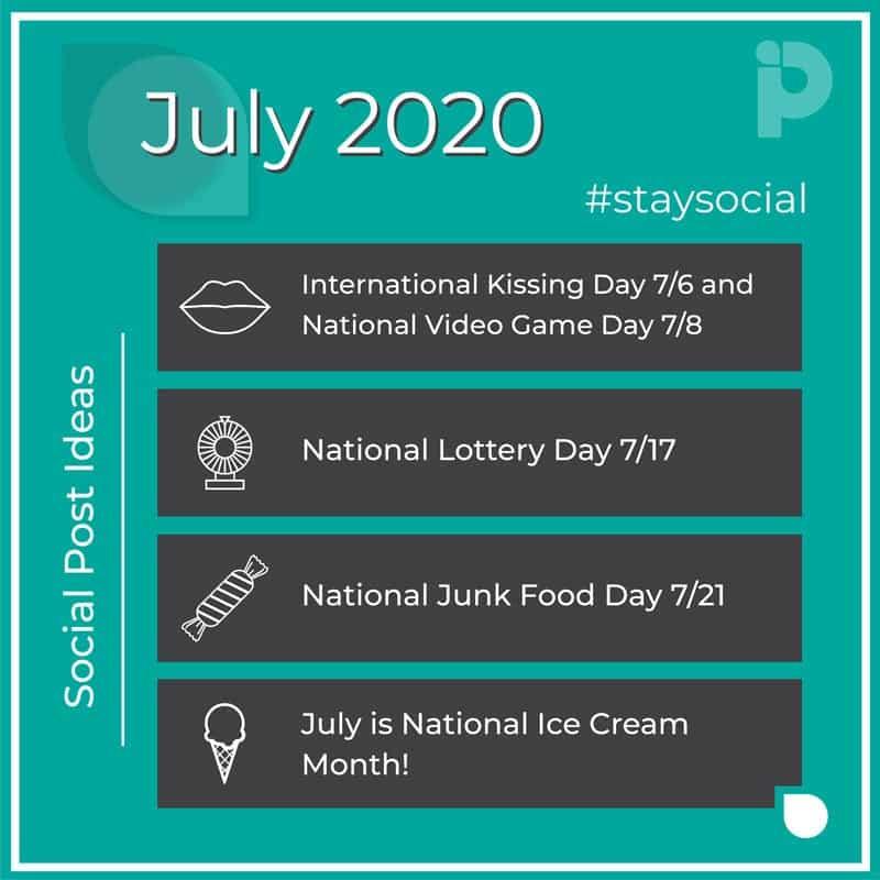 July 2020 stay social post ideas