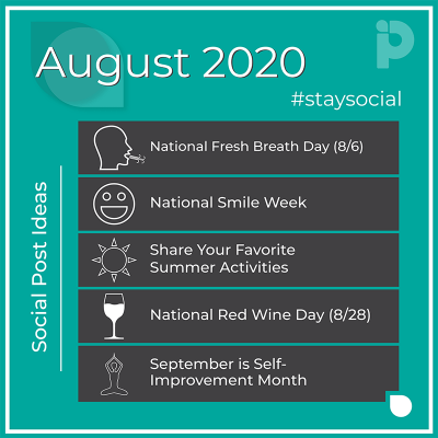 August 2020-stay social post ideas