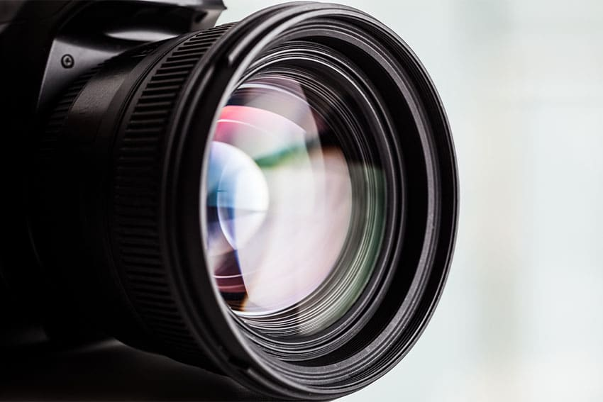 Closeup of a camera lense