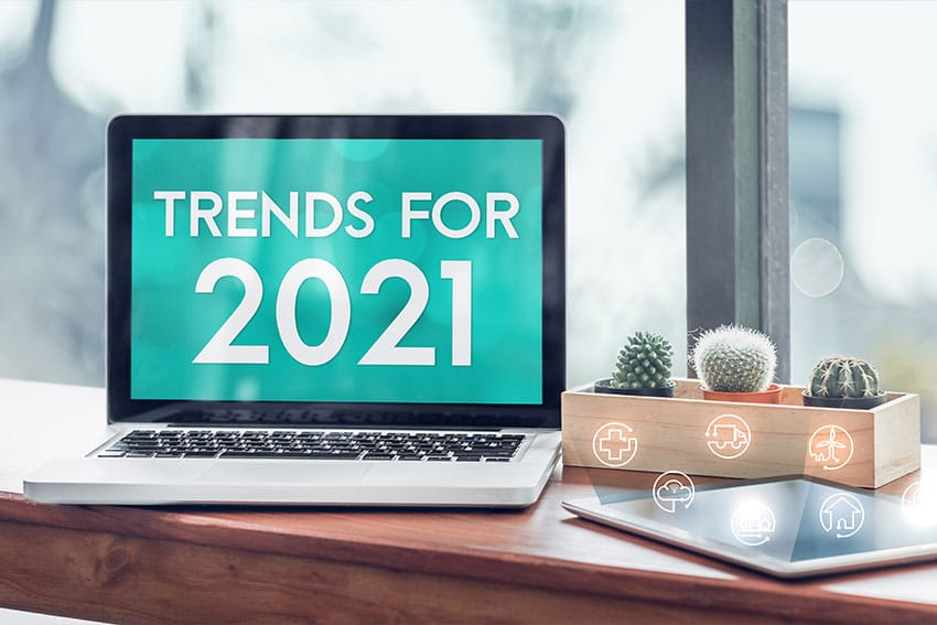 laptop screen showing the dental content marketing trends for 2021